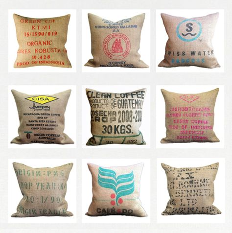 Coffee sack cushions #hessian.  Like the look, maybe abrasive to the touch.