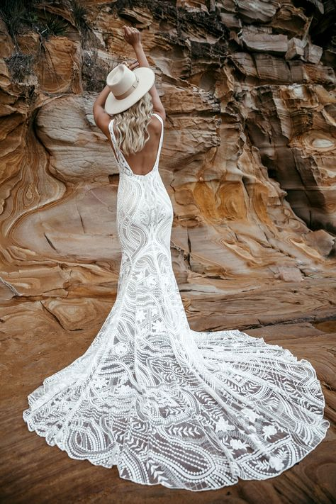 Charlie's bold curved lace was made for our fashion forward, bohemian brides and is sure to bring the magic. Bohemian Bride, Bohemian Wedding Dresses, Dream Wedding Dresses, Bridal Dresses, Wedding Gowns, Bohemian Weddings, Indian Weddings, Two Piece Wedding Dress, Wedding Dress Low Back