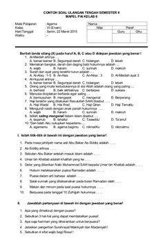 Contoh Soal Ulangan Tengah Semester Ii Mapel Pai Kelas 6 Mata Pelajaran Agama Nama Kelas Vi Enam Nilai Paraf Hari Islam Semester Person