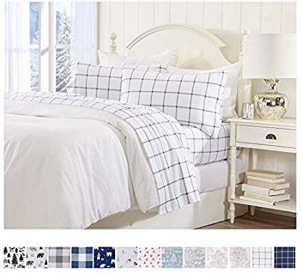 Amazon Com Great Bay Home Extra Soft Enchanted Woods 100 Turkish Cotton Flannel Sheet Set Warm Cozy Luxury Twin Sheet Sets Plaid Bedding Sheet Sets Queen