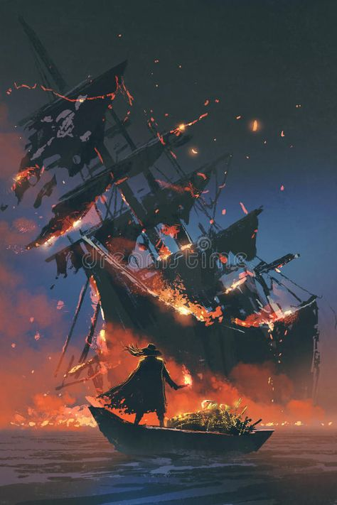 Illustration about The pirate with burning torch standing on boat with treasure looking at sinking ship, digital art style, illustration painting. Illustration of water, dark, sailboat - 95407324 Pirate Boats, Pirate Art, Pirate Life, Pirate Ships, Fantasy Landscape, Fantasy Art, Old Sailing Ships, Sea Of Thieves, Environment Concept Art
