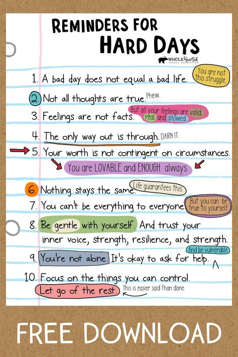 This free social emotional learning poster provides reminders of ways to reframe our thoughts during difficult times 💜