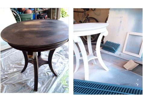 Worn and tired sided tables are chalk painted to get a fresh new look.