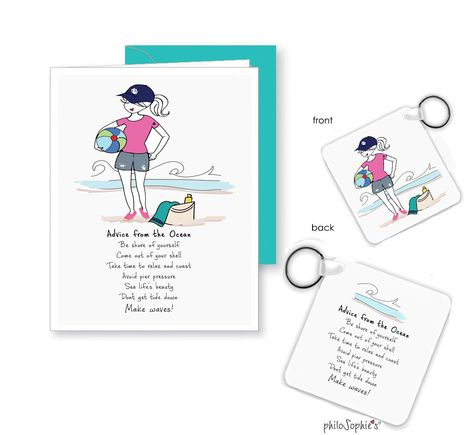 """Advice from the Ocean Keychain Bonus matching greeting Constructed from solid, durable laminate with high-gloss smooth finish Measures 2.25"""" square; includes key ring Made in the USA perfect pick-me-up/thinking of you gift to send a friend."""