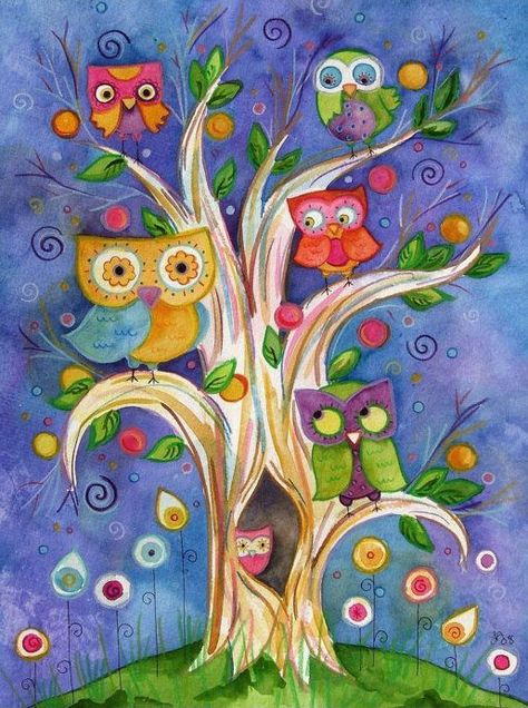 owl painting lauren alexander on etsy