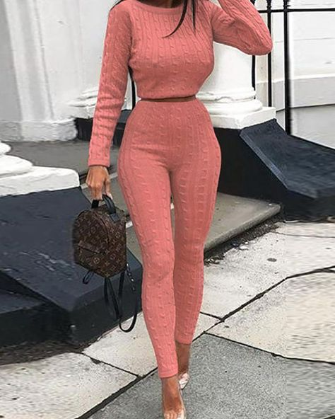 Long Sleeve Knit Pullover Sweater & Pants Sets