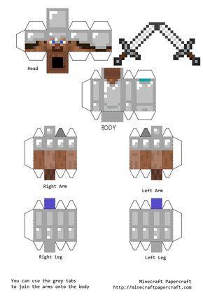 Papercraft Steve With Iron Armor And Iron Sword Brinquedos De