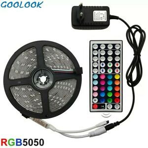 5m Smd Rgb 5050 Waterproof Led Strip Light 300 44 Key Remote 12 Volt Supply P Ebay Led Light Strips Led Strip Lighting Strip Lighting
