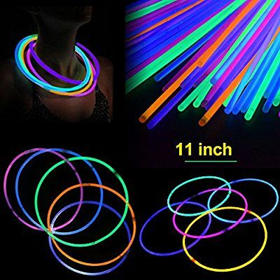 100 ASST COLOR GLOW BRACELETS light up in the dark glow in the dark party new