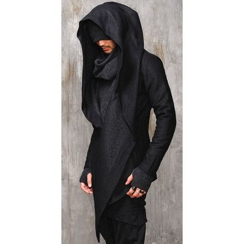 Dark Edgy Diabolic Sharp Avant Garde Hooded Cape this would be good costume for a character.