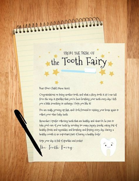 Personalized Printable Letter from the Tooth by TwoLaughingLambs