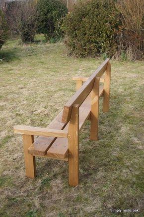 Rustic Oak Long Plank Garden Bench Garden Bench Rustic Garden Bench Diy Wooden Garden Benches