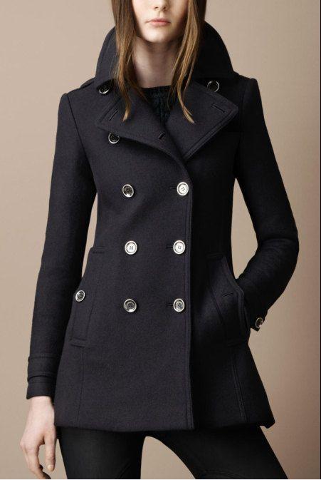 Women Black OL Wool coat double breasted button winter coat Hood ...