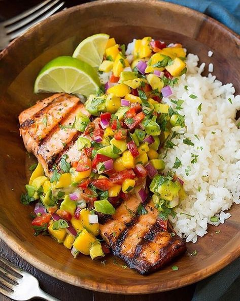 Grilled Lime Salmon with Avocado-Mango Salsa and Coconut Rice Made by @cookingclassy . Yield: 4 servings Ingredients Lime Salmon 4 (6 oz) skinless salmon fillets 3 Tbsp olive oil, plus more for grill 2 tsp lime zest 3 Tbsp fresh lime juice 3 cloves garlic, crushed Salt and freshly ground black pepper, to taste Coconut Rice 1 1/2 cups Zico Coconut Water 1 1/4 cups canned coconut milk 1 1/2 cups jasmine rice, rinsed well and drained well 1/2 tsp salt Avocado-Mango Salsa 1 large mango, peel...