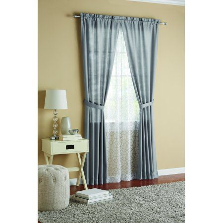 Mainstays 6 Piece Curtain Set 2 Panels With 2 Sheers And 2