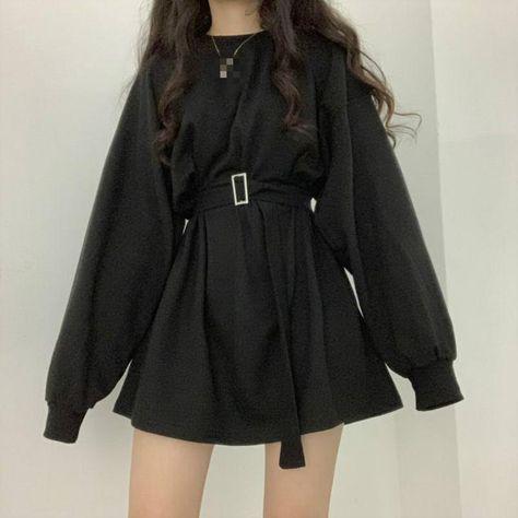 Long Sleeve Belted Lightweight Tee - Black / XXS