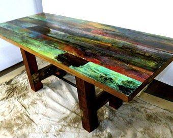 Haut De Table En Bois De Grange Peint Table De Table De Cuisine De Ferme Decor Indonesien Peinture En Detresse Bois Naturel Decor En Bois De Bateau Table Basse Peinte Peindre