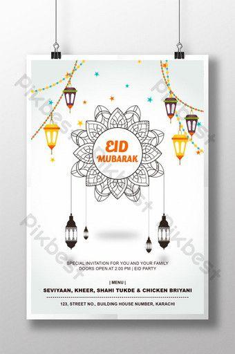 Colorful Eid Mubarak Invitation Template Psd Psd Free Download Pikbest Invitation Template Eid Mubarak Greeting Cards Eid Mubarak