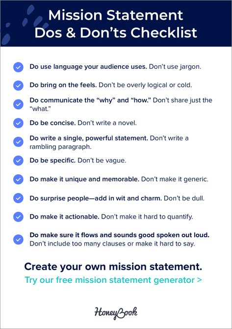 The Do's and Don'ts of creating a powerful mission statement for your business. 🙌