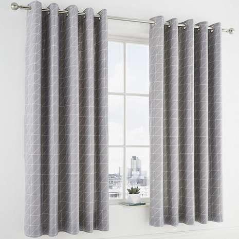 Geo Grey Thermal Blackout Eyelet Curtains Homedecor Blackout Eyelet Curtains Gray Blackout Curtains Dunelm