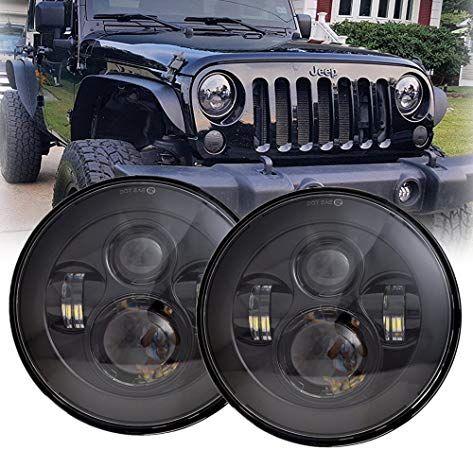 """Turn+Fender For JEEP Wrangler JK Pair 7/"""" inch Round Black LED Headlight DRL+Fog"""