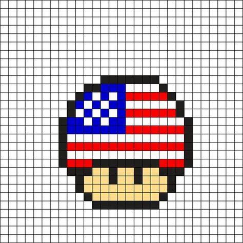 Hama Champignon Usa De Mario Hama Beads Pixel Art