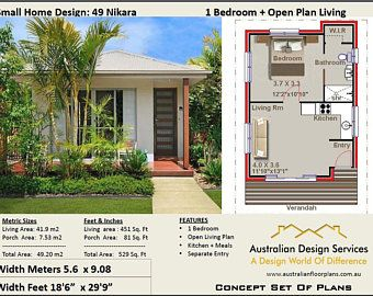 59 9 Bay Cottage 645 Sq Feet Or 59 9 M2 2 Bedroom 2 Bed Granny Flat Concept House Plans For Sale Under 1000 Sq Foot House Plans Small House Design House Plans For Sale Simple House Plans