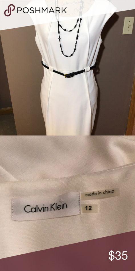🌹Calvin Klein Cream dress Sleeveless cream dress with Black belt, Gold buckle Calvin Klein Dresses Midi