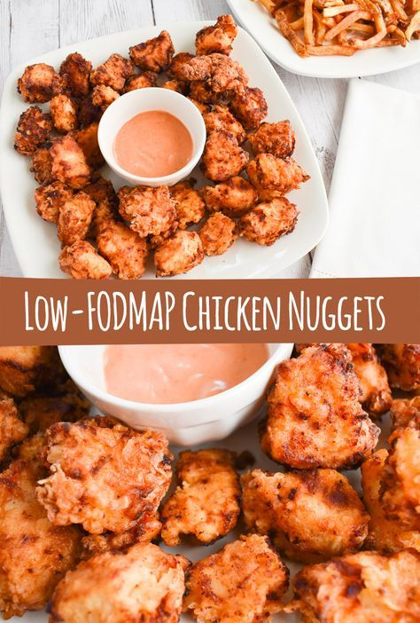 Kid's Favorite Low-FODMAP Chicken Nuggets Recipe; Gluten-free, Dairy-free Your children (and you) are going to be so excited by my low-FODMAP Chicken Nugget recipe. You are going to want to make this dinner again and again. Easy and so good! Fodmap Meal Plan, Fodmap Diet, Low Fodmap, Fodmap Foods, Vegan Keto Recipes, Fodmap Recipes, Healthy Recipes, Chicken Nugget Recipes, Nuggets Recipe