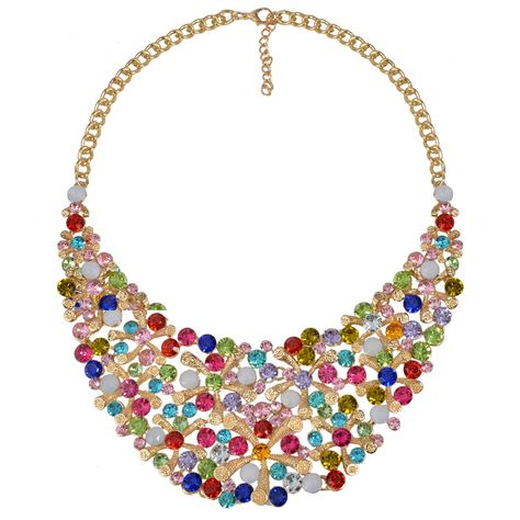NEW Design Fashion MultiColour Exaggerated Necklace Jewelry Giftr Star Shape Rhinestone  Jewelry Chain Statement Necklace Women