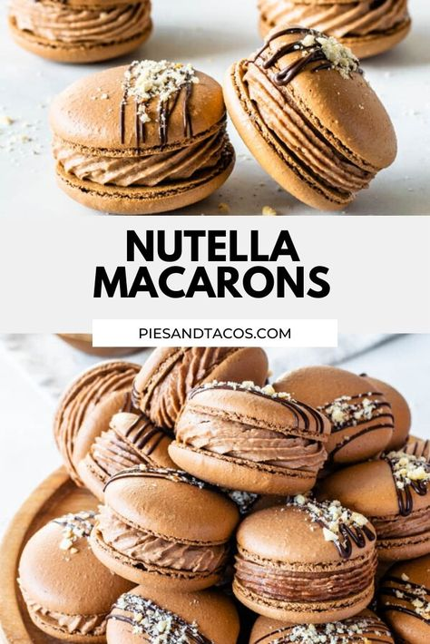 Nutella Macarons - - Nutella Macarons with a Nutella Buttercream filling, drizzled with melted chocolate and chopped hazelnuts. So delicious! Macaron Pistache, Macaroons, Macaron Cookies, Easy Desserts, Delicious Desserts, Yummy Food, Tasty, Baking Recipes, Gastronomia