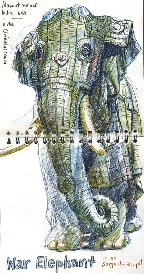 Elephant drawings | Urban Sketchers: SketchCrawl North at Leeds Royal Armouries