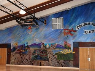 Columbus Community Center Gym Mural - Painted by the