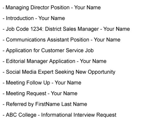 Formatted Job Search Email Message Examples Subject Line