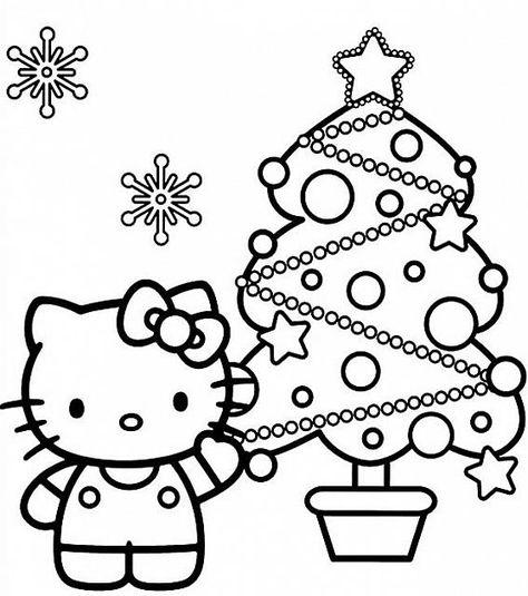 Hello Kitty Con Albero Disegno Di Natale Da Colorare Disegni Da