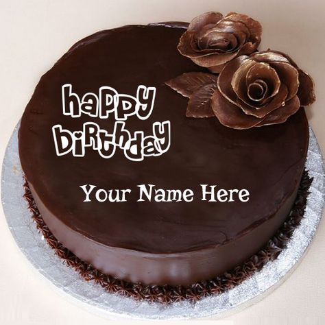 Happy Birthday Chocolate Cake With Flower And Your Name