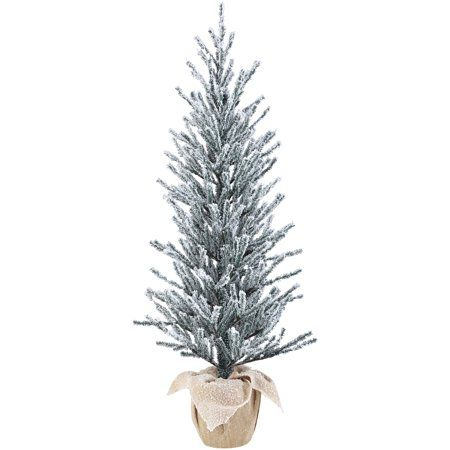 Holiday Time Snow Capped Green Fir Tree With Burlap Base 48 Walmart Com Potted Christmas Trees Flocked Christmas Trees 4ft Christmas Tree