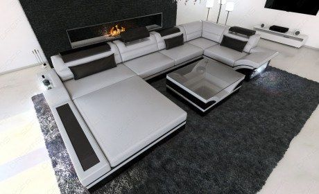 Luxus Wohnlandschaft Mezzo U Form Mit Led Grau Schwarz Big Leather Sofas Leather Sofa Large Sectional Sofa