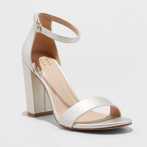 Women's Ema Satin High Block Heel Pump Sandal - A New Day Champagne Beige heels pumps heels stilleto stiletto heels Ankle Strap Heels, Ankle Straps, Pumps Heels, Stiletto Heels, Heeled Sandals, Dr Shoes, Me Too Shoes, Bridal Shoes, Wedding Shoes