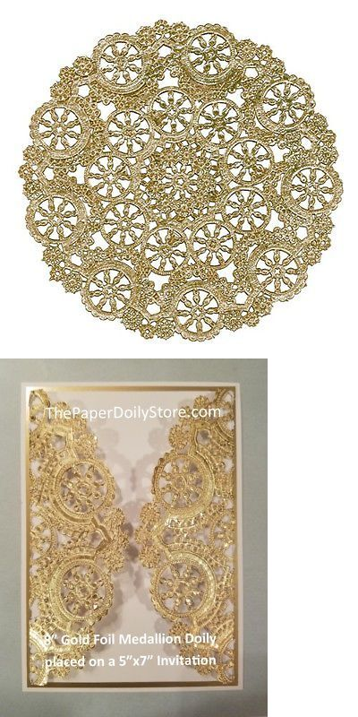 "75-8/"" GOLD Metallic Foil MEDALLION PAPER LACE DOILIESWedding Party Craft"