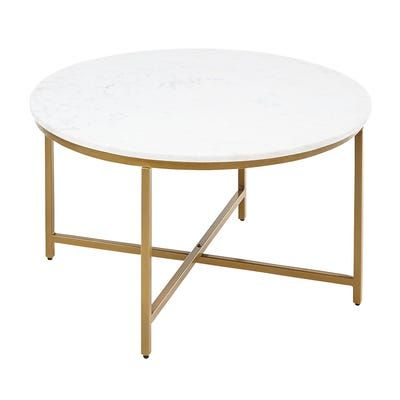 Victoria Marble Gold Round Coffee Table In 2020 Round Gold