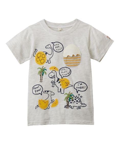 71b71d65ad245d 立体アップリケ付 恐竜プリント半袖Tシャツ(男の子・女の子 子供服)()non-brand item()02