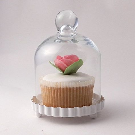 Cupcake Stand Miniature Glass Dome, Single Glass Cupcake Stand With Dome