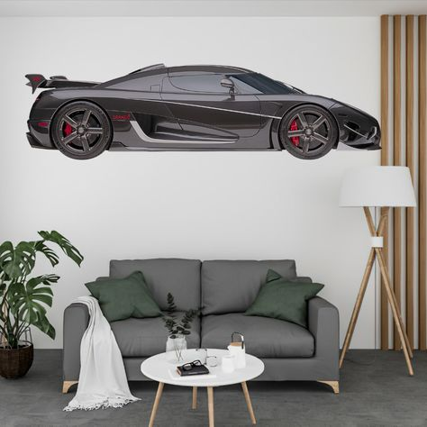 2020 KOENIGSEGG REGERA Wall Decal Sticker, Can Print up to 120 Inches Wide. Thisis a Peel-N-Stick Decal that can be applied to any smooth wall or glass. Thisdecal can be removed at any time and leaves no residue on the wall or it can remain on the wall for years, it's up to you. This is an indoor decal.
