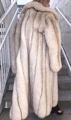 Blue Fox Silver Fox Fur Luxe Spectacular full length coat M