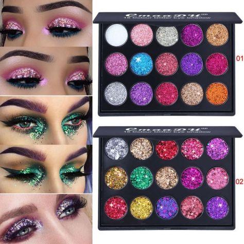 Good Beauty Makeup Single Glitter Eyes Eyeshadow Palette Kits Black Silver Gold White Shimmer Glitter Pigments Eye Shadow Waterproof Beauty & Health