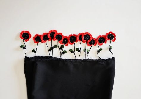 Red Poppies on the Tube Shaped Black Scarf Crochet by ReddApple, $42.00