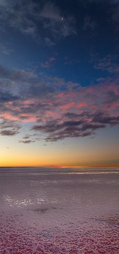 """Shrimp to the Moon! By lrargerich the waxing crescent moon above the salt flats.The red color in the salt is produced by """"Artemia"""" a brine shrimp"""