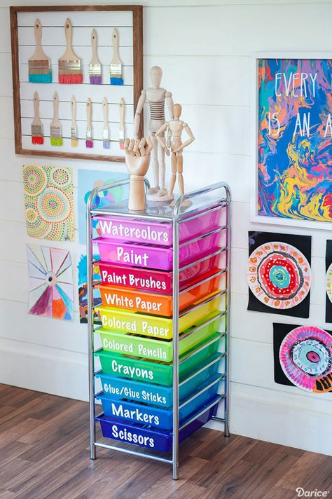 Creative Art Room Supply Organization Ideas - Darice Today we're sharing an easy and creative art room organization idea! Use Darice's rainbow rolling cart to neatly organize must have supplies and materials. Small Space Organization, Craft Organization, Bedroom Organization, Organizing Ideas, Rangement Art, Art Supplies Storage, Organize Art Supplies, Art Supplies For Kids, Kids Art Storage