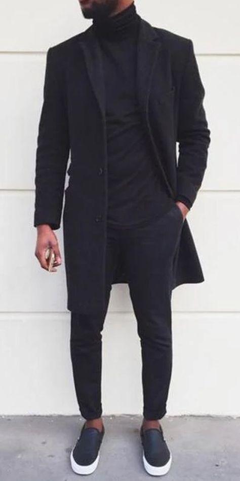 Black Men Coat Winter